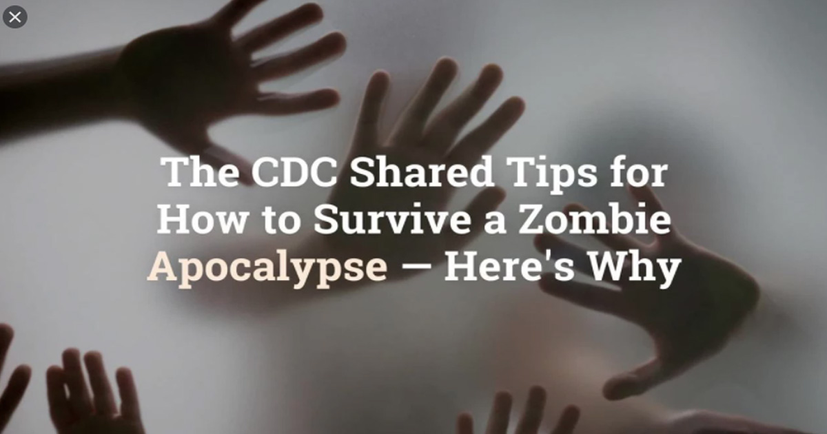 """""""ZOMBIE APOCALYPSE""""! Brought to you by the CDC"""