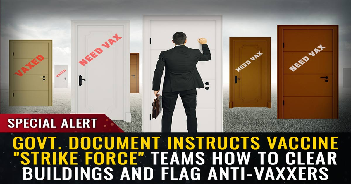 """You are currently viewing Government document instructs vaccine """"strike force"""" teams how to clear buildings, violate trespass laws and flag anti-vaxxers for forced quarantines"""
